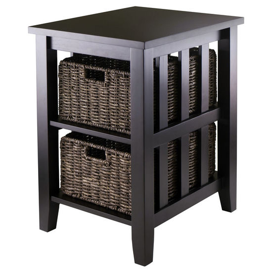 Winsome Wood WS-92312, Morris Side Table with 2 Foldable Baskets, Espresso, 20.08'' W x 16.54'' D x 25.04'' H