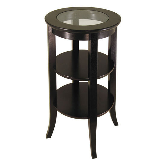 2-Tier Round End Table with Glass Top