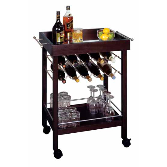 Kitchen Trolley Accessories: Winsome Wood 10-Bottle Rolling Wine Cart In