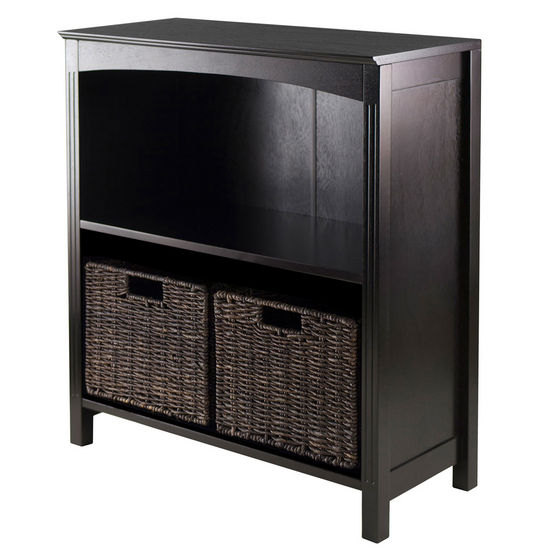 Winsome Wood WS-92378, 3-Piece Storage 3-Tier Shelf with 2 Small Baskets, Dark Espresso, 25.98'' W x 11.81'' D x 30'' H