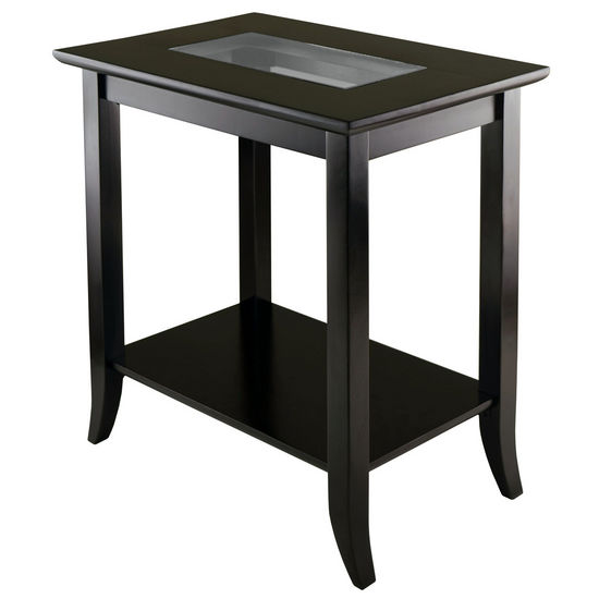 Winsome Wood WS-92419, Genoa Rectangular End Table with Glass Top And Shelf, Dark Espresso, 23.94'' W x 16.3'' D x 25.04'' H