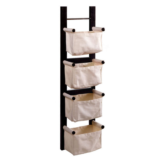 Winsome Wood WS-92444, Storage/Magazine Rack with 4 Canvas Baskets, Dark Espresso, 12.09'' W x 6.89'' D x 44.02'' H
