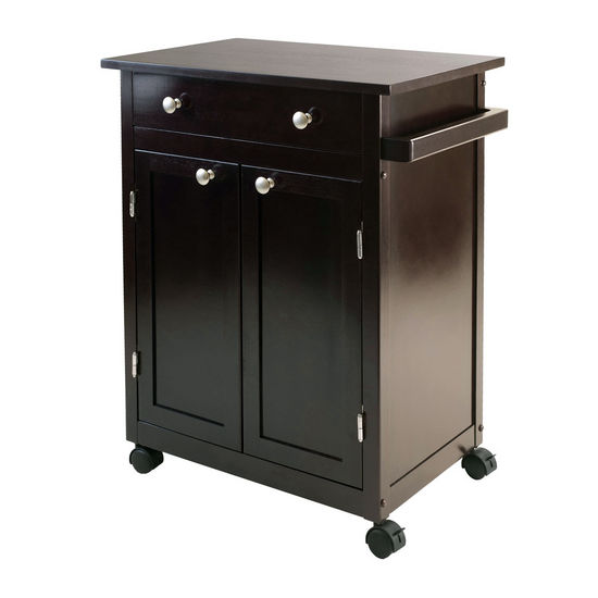 Winsome Wood WS-92626, Savannah Kitchen Cart, Espresso, 26.89'' W x 17.72'' D x 34.02'' H