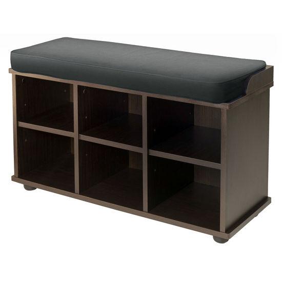 Winsome Wood WS-92633, Townsend Bench with Black Cushion Seat, Dark Espresso, 33.7'' W x 12.52'' D x 19.17'' H