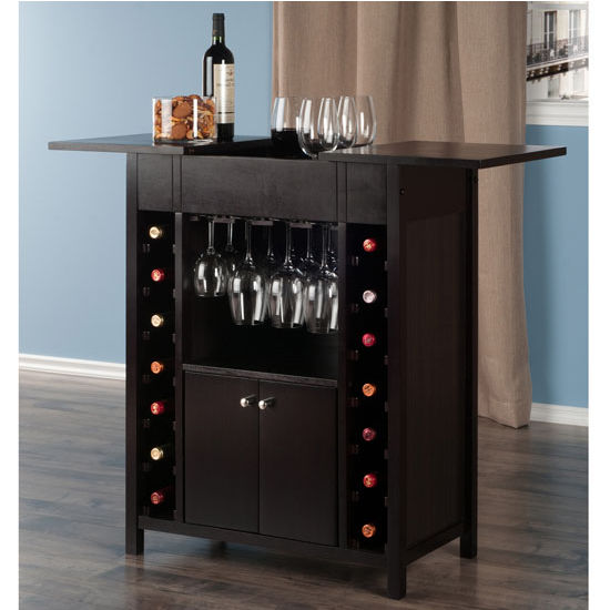 Yukon 14 Bottle Wine Cabinet In Espresso Finish By Winsome Wood