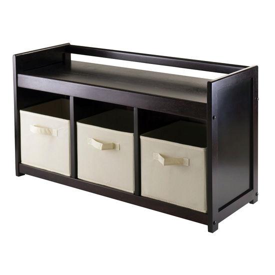 Winsome Wood WS-92701, Addison 4-Piece Storage Bench with 3 Foldable Fabric Baskets In Beige, Espresso / Chocolate, 37.40'' W x 13.39'' D x 20.87'' H