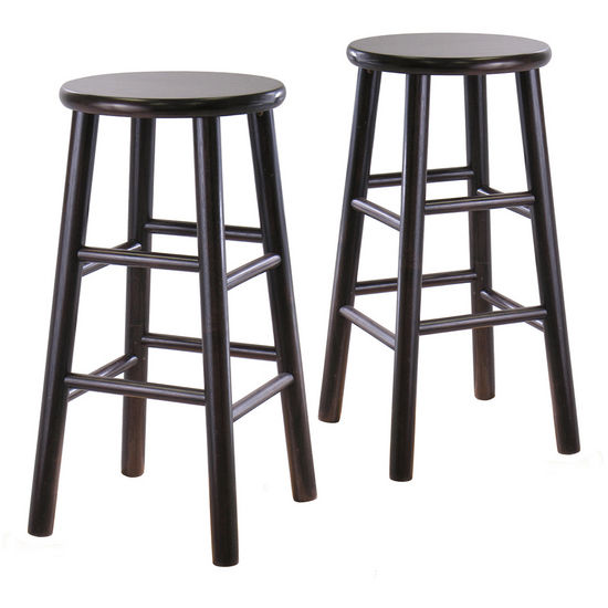 "Winsome - 24"" Bevel Seat Stools, Espresso"