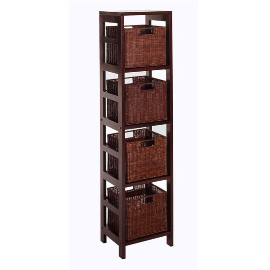 4 Section Narrow Storage Shelf With Baskets By Winsome