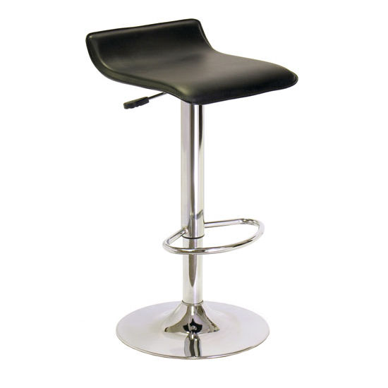 15 1 8 W Single Airlift Swivel Stool With Black Faux