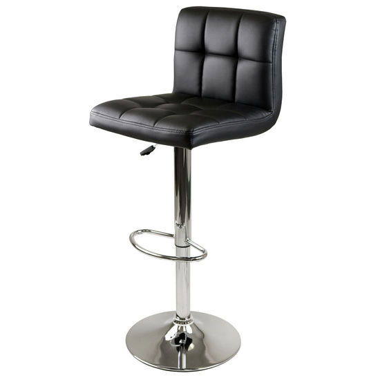 Winsome Wood WS-93150, Stockholm Airlift Stool, Swivel Square Grid Faux Leather Seat, Black / Metal, 17.72'' W x 19.71'' D x 44.33'' H