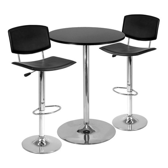 "28"" Round Table with 2 Airlift Stools"