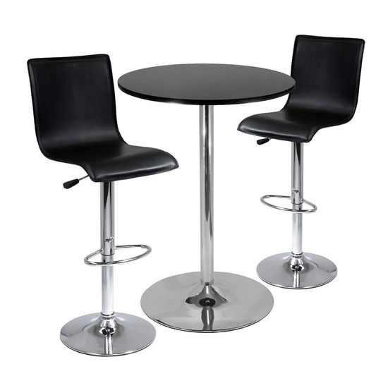 "28"" Round Table with 2 L-Shape Airlift Stools"