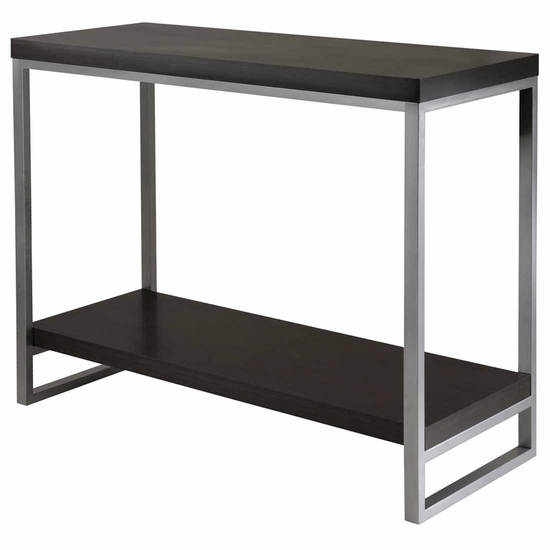 Winsome Wood Jared Console Table with Enamel Steel Tube Legs with Black Finish