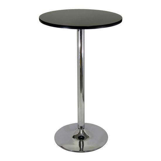 Pub Table w/ Black Top and Chrome Base