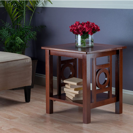 Ollie End Table With Art Deco Design And Shelf In Walnut Finish By Winsome Wood