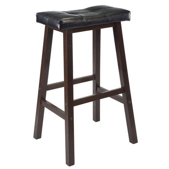 "Winsome Wood 24"" Cushion Saddle Seat Stool, Black, Faux Leather"