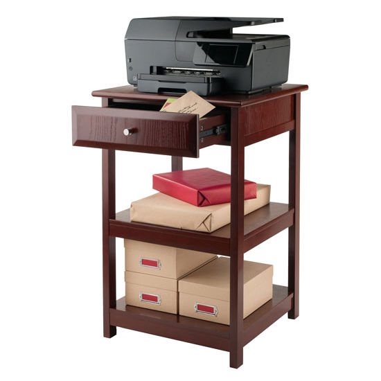 Wooden Printer Tables ~ Delta printer table with small drawer and shelves in