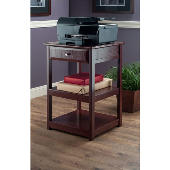 Delta Printer Table With Small Drawer And 2 Shelves In Walnut Finish By  Winsome Wood | KitchenSource.com