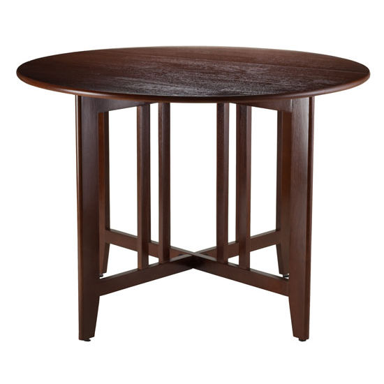 "Winsome Wood Alamo Double Drop Leaf Round 42"" Table Mission in Antique Walnut"