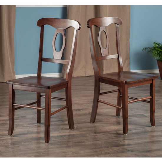 "Winsome Wood Renaissance Collection 2-Piece Set Key Hole Back Chairs in Walnut, 17-3/8"" W x 21-9/64"" D x 36-21/32"" H"