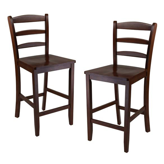 """Winsome Wood 24"""" Counter Ladder Back Stool, Set of 2"""