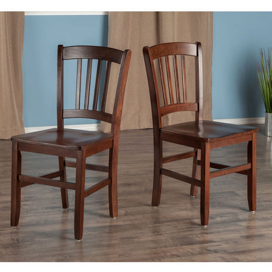 "Winsome Wood Madison Collection 2-Piece Set Slat Back Chairs in Walnut, 17-11/64"" W x 19-19/64"" D x 34-11/16"" H"
