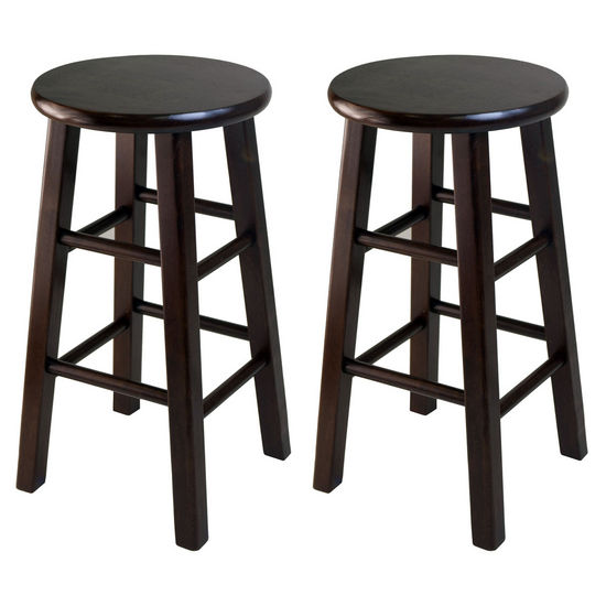 "Winsome Wood WS-94264, Square Leg, 24"" Counter Height Stools, Set of 2, Antique Walnut, 13.39'' W x 13.39'' D x 23.62'' H"