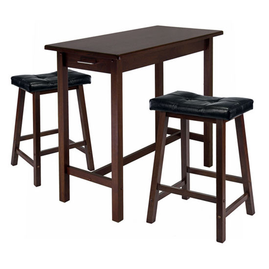 Winsome Wood WS-94304, 3-Piece Kitchen Island Table with 2 Cushion Saddle Seat Stools, Antique Walnut, 39.37'' W x 19.69'' D x 33.27'' H