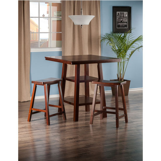 """Winsome Wood Orlando Collection 3-Piece Set High Table, 2 Shelves with 2 Saddle Seat Stools in Walnut, 33-7/8"""" W x 33-7/8"""" D x 36-1/16"""" H"""