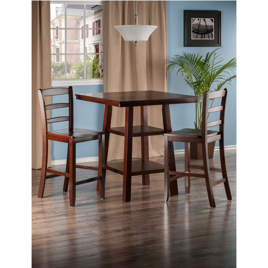 winsome wood orlando collection 3 piece set high table 2 shelves with