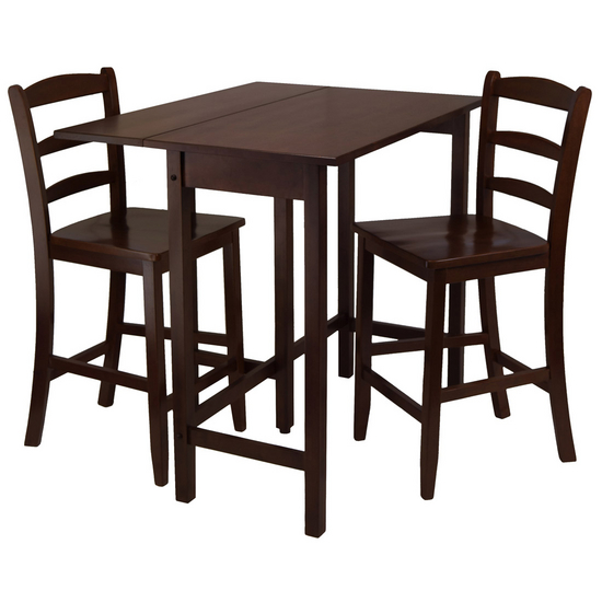 Winsome Wood Lynnwood 3-Pc. Set, Includes Drop Leaf High Table and 2 Counter Ladder Back Stools