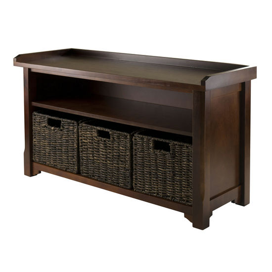 Winsome Wood WS-94338, Granville Storage Bench with 3 Foldable Baskets, Walnut / Chocolate, 40'' W x 14.2'' D x 22'' H