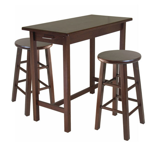 Winsome Wood 3-Pc Breakfast Table with 2 Square Leg Stools in Antique Walnut, 39-3/8''W x 19-11/16''D x 33-1/4''H