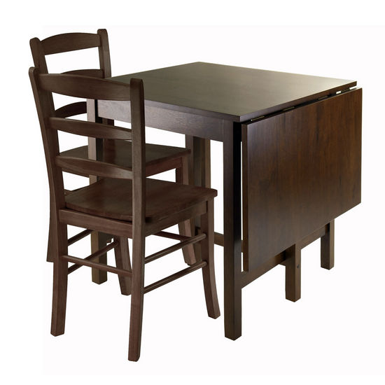 Winsome Wood WS-94343, Lynden 3-Piece Dining Table with 2 Ladder Back Chairs, Antique Walnut, 48'' W x 30'' D x 29.5'' H