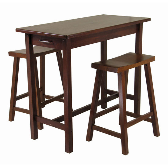 Kitchen Island Set w/ Saddle Stools