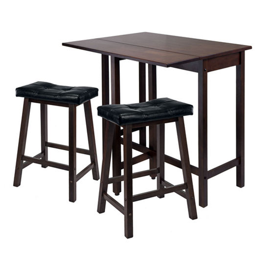 Winsome Wood WS-94346, 3-Piece Lynnwood Drop Leaf Kitchen Table with 2 Cushion Saddle Seat Stools, Antique Walnut, 39.37'' W x 30'' D x 35.43'' H