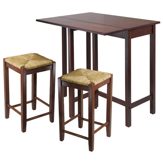 Winsome Wood Lynnwood 3-Pc. Set, Includes Drop Leaf High Table and 2 Rush Seat Stools