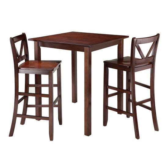 Winsome Wood Parkland 3-Pc High Table with 2 Bar V-Back Stools in Walnut
