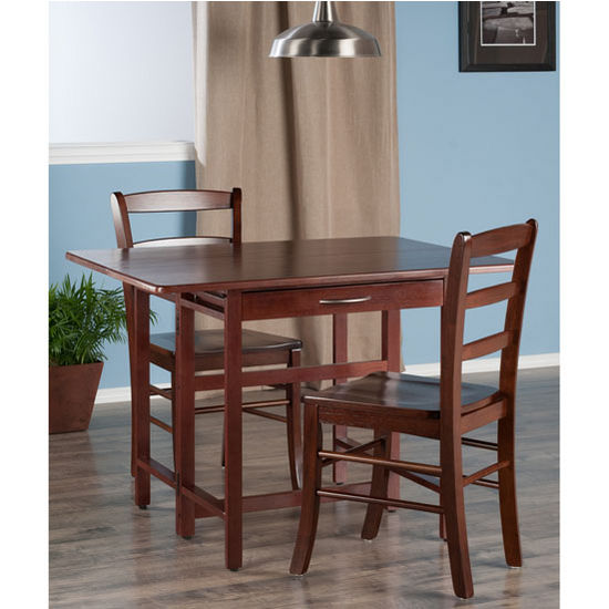"Winsome Wood Taylor Collection 3-Piece Set Drop Leaf Table w/ Ladder Back Chairs in Walnut, 41-47/64"" W x 30-1/2"" D x 29-1/8"" H"
