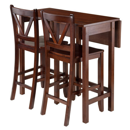 Winsome Wood Lynnwood 3-Pc Drop Leaf Table with 2 Counter V-Back Stools in Walnut, 39-3/8''W x 30''D x 35-7/16''H