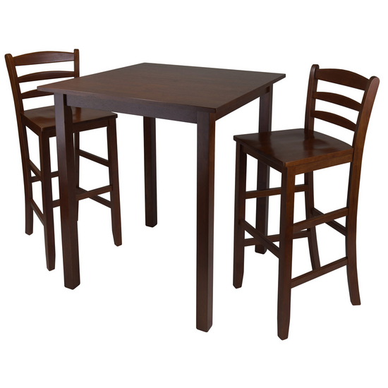 "Winsome Wood Parkland 3-Pc. Set, Includes Drop Leaf High Table and 2- 29"" Ladder Back Stools"