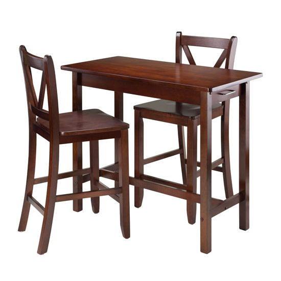 Winsome Wood 3-Pc Kitchen Island Table with 2 V-Back Stool in Walnut, 40''W x 19-11/16''D x 33-1/4''H