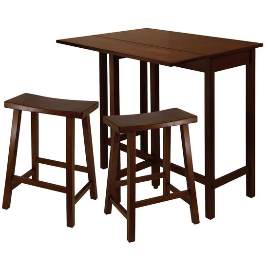"Winsome Wood Lynnwood 3-Pc. Set, Includes Drop Leaf High Table and 2- 24"" Saddle Seat Stool"