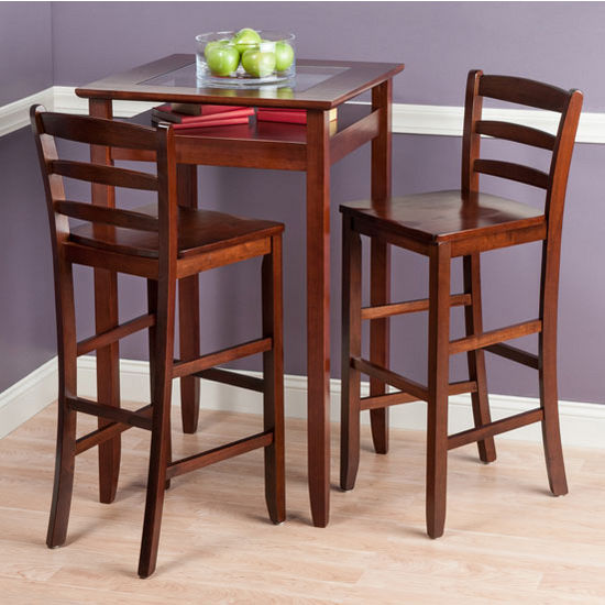 "Winsome Wood Halo Collection 3-Piece Pub Table Set with 2 Ladder Back Stools in Walnut, 25-19/32"" W x 25-19/32"" D x 42-1/8"" H"