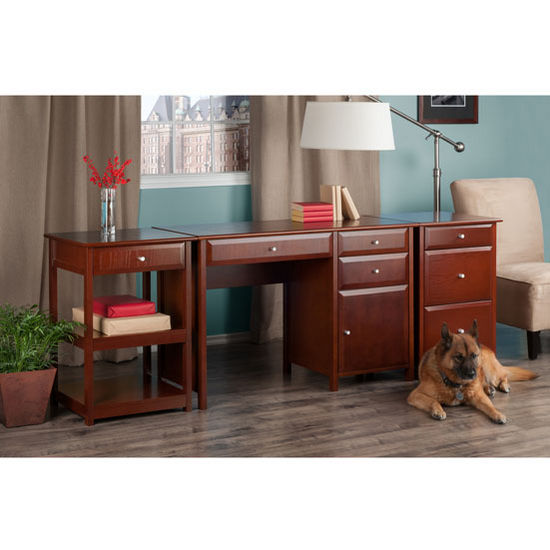 "Winsome Wood Delta Collection 3-Piece Home Office Set in Walnut, 47-1/4"" W x 20-1/4"" D x 30-23/32"" H"