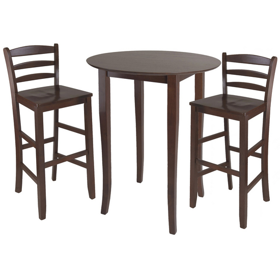 Winsome Wood Fiona 3-Pc. Set, Includes High Round Table and 2 Ladder Back Stools