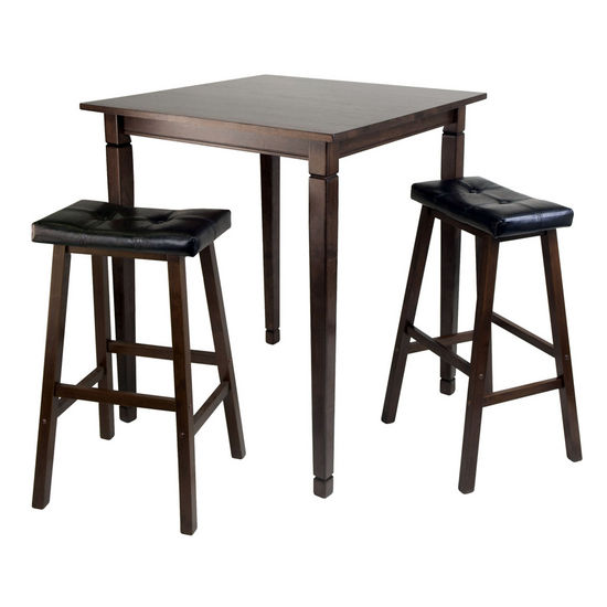 Winsome Wood WS-94399, 3-Piece Kingsgate High/Pub Dining Table with Cushioned Saddle Stool, Antique Walnut, 33.8'' W x 33.8'' D x 38.9'' H