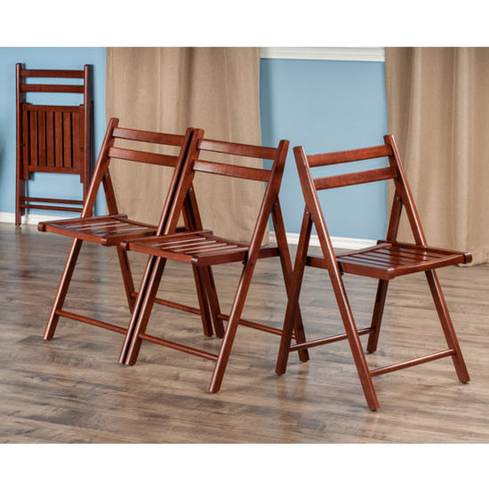 "Winsome Wood Robin Collection 4-Piece Folding Chair Set in Walnut, 17-41/64"" W x 20-7/64"" D x 32-9/32"" H"