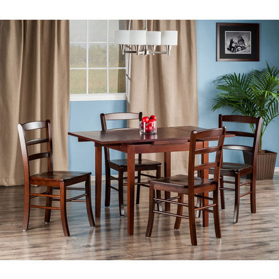 "Winsome Wood Pulman Collection 5-Piece Set Extension Table with with 4 Ladder Back Chairs in Walnut, 48-1/32"" W x 29-59/64"" D x 29-19/64"" H"