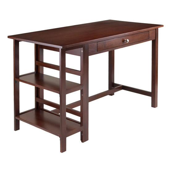 Winsome Wood Velda Writing Desk with 2 Shelves in Antique Walnut, 50-1/16''W x 24-1/4''D x 30-9/16''H
